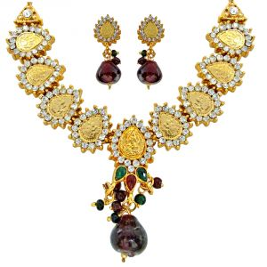 Rcpc,Jpearls,Surat Diamonds,Flora Women's Clothing - Surat Diamond Traditional Polki Multicolour Fashion Jewellery Set PS231