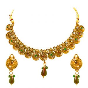 triveni,pick pocket,jpearls,surat diamonds,unimod Imititation Jewellery Sets - Surat Diamond Simply Dramatic - Necklace & Earring Set PS235