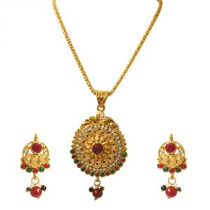 Surat Diamonds Necklace Sets (Imitation) - Surat Diamond Ethnic Beauty - Pendant Necklace & Earring Set PS239