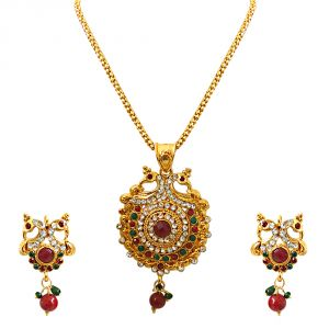 Surat Diamond Bejewelled Peacocks - Pendant Necklace & Earring Set (code - Ps241)