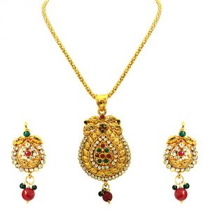 Kiara,La Intimo,Shonaya,Lime,Flora,Surat Diamonds,Diya,Sangini,Parineeta Women's Clothing - Surat Diamond Charming Beauty - Pendant Necklace & Earring Set PS242