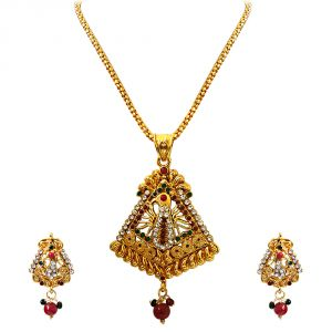 Surat Diamond Dancing Peacock - Pendant Necklace & Earring Set Ps243