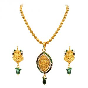 triveni,pick pocket,jpearls,surat diamonds,arpera,estoss,oviya,jharjhar,gili Imititation Jewellery Sets - Surat Diamond Green&White Kundan Polki God Motif Fashion Jewellery Set- PS245-2