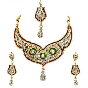Surat Diamonds Fashion, Imitation Jewellery - Surat Diamond Nafisa: Very Stylish Kundan Polki heavy looking Fashion Jewellery Set PS252