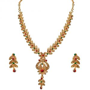 Surat Diamonds Jewellery - Surat Diamond Traditional Red, Green & Yellow Coloured Stone Floral Shaped Necklace & Earring Set PS259