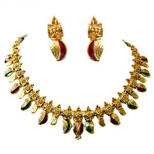 rcpc,jpearls,surat diamonds,clovia,sukkhi,kalazone Imititation Jewellery Sets - Surat Diamond Drop Shaped Red & Green Enamelled Gold Plated Necklace Earring Fashion Jewellery PS260