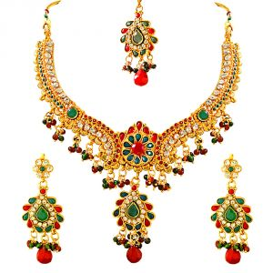 Surat Diamond Traditional Red, Green & White Stone & Gold Plated Necklace Earring & Tikka Fashion Jewellery Set Ps262