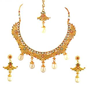 Surat Diamond Fancy Red, Green & White Stones, Shell Pearls & Gold Plated Necklace Earring & Manga Tikka Ethnic Fashion Jewellery Set Ps265