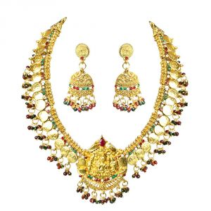 jagdamba,surat diamonds,valentine,jharjhar,asmi,tng,cloe,fasense Imititation Jewellery Sets - Surat Diamond Traditional Red & White Stone Polki Laxmi Goddess Motif Fashion Jewellery Set for Women PS279