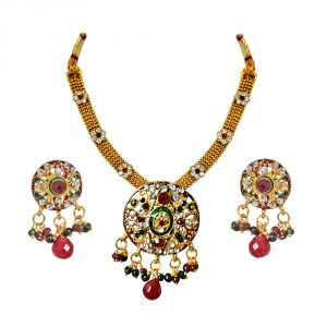 lime,surat tex,soie,surat diamonds,flora Imititation Jewellery Sets - Surat Diamond Ethnic Round Shaped Red, Green & White Stones & Gold Plated Pendant Necklace & Earring Set with Enamel PS287