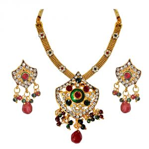 triveni,tng,jagdamba,jharjhar,surat diamonds,arpera Imititation Jewellery Sets - Surat Diamond Ethnic Red, Green & White Stones & Gold Plated Pendant Necklace & Earring Set with Enamel PS291