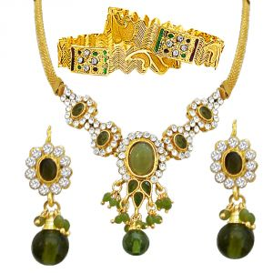 Jewellery combos - Surat Diamond Fancy Green & White Stone Set with Rajasthani Kadas PS29+PK3