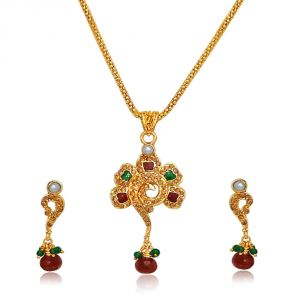 triveni,pick pocket,jpearls,surat diamonds,unimod Imititation Jewellery Sets - Surat Diamond Flower Shaped Polki & Gold Plated Pendant Necklace & Earring Set PS43