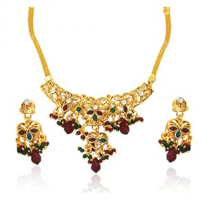 Surat Diamond Traditional Rajasthani Polki Necklace Earring Set Ps7