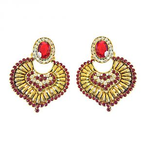 Surat Diamond Red & White Colored Stone & Gold Plated Chand Bali Earrings Pse10