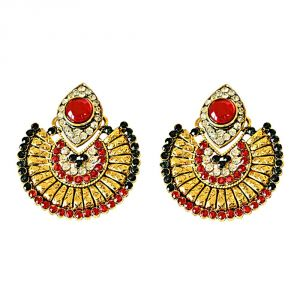 Surat Diamond Drop Shaped Red, Green & White Colored Stone & Gold Plated Chand Bali Earrings Pse11