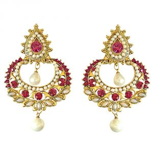 Surat Diamond Pink Stone & Shell Pearl & Gold Plated Chand Bali Hanging Earrings Pse12