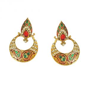 Surat Diamond Drop Shaped Red-green Enamelled, Studded With White Stones & Gold Plated Chand Bali Earrings Pse13