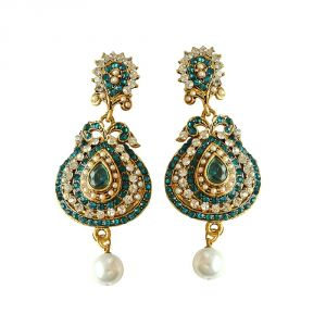 Surat Diamond Drop Shaped Designer Blue & White Coloured Stone, Shell Pearl & Gold Plated Chand Bali Earrings Pse16