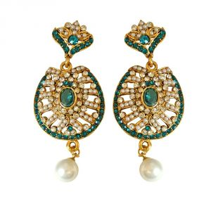 Surat Diamond Drop Shaped Blue & White Coloured Stone, Shell Pearl & Gold Plated Chand Bali Earrings Pse17