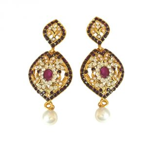 Surat Diamond Drop Shaped Designer Purple & White Coloured Stone, Shell Pearl & Gold Plated Chand Bali Earrings Pse18