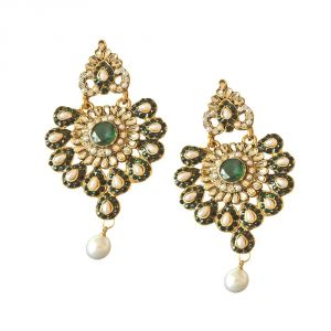 Surat Diamond Floral Designed Green & White Stones, Shell Pearl & Gold Plated Chand Bali Earrings Pse19