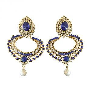 Surat Diamond Drop Shaped Blue & White Coloure Stones, Shell Pearl & Gold Plated Chand Bali Earrings Pse20