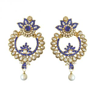Surat Diamond Floral Shaped Blue Coloured Stone, Shell Pearl & Gold Plated Chand Bali Earrings Pse24