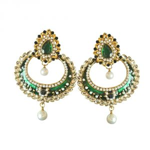 Surat Diamond Traditional Green & White Coloured Stone, Shell Pearl & Gold Plated Chand Bali Earrings With Green Enamel Pse26