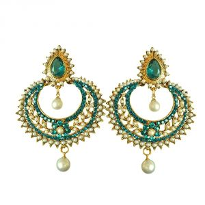 My Pac,Sangini,Kiara,Surat Diamonds,Valentine,Port Women's Clothing - Surat Diamond Fancy Blue Coloured Stone, Shell Pearl & Gold Plated Chand Bali Earrings PSE27