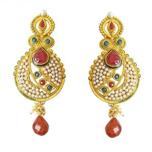 Surat Diamonds Women's Clothing - Surat Diamond Ethnic Copper Gold Plated Red & Green Coloured Stone Dangling Earring