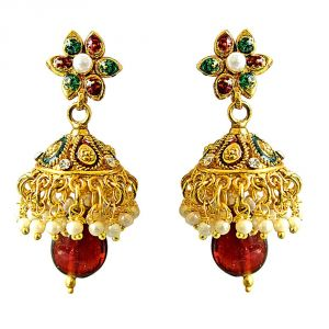 Surat Diamond Traditional Red, White & Green Coloured Stone & Gold Plated Copper Jhumki Earrings