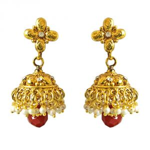 Jagdamba,Kalazone,Jpearls,Mahi,Surat Diamonds,Asmi Women's Clothing - Surat Diamond Traditional Gold Plated Copper White & Red Coloured Stone Jhumki Earring