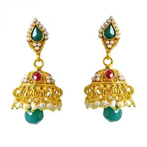 Surat Diamond Traditional Green & Red Stone & Gold Plated Copper Jhumki Earrings