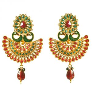 Surat Diamond Traditional Peacock Shaped Red & Green Enamelled & Coloured Stone Studded Gold Plated Copper Earrings