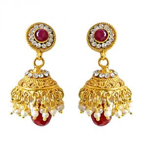 Surat Diamond Traditional Red Coloured Stone & Gold Plated Copper Jhumki Earrings