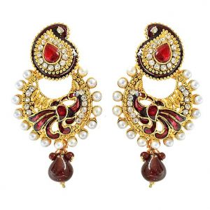 Diwali Gifts - Surat Diamond Ethnic Peacock Motif, Maroon Enamelled, Red & white Coloured Stone Chandbali Earrings PSE50