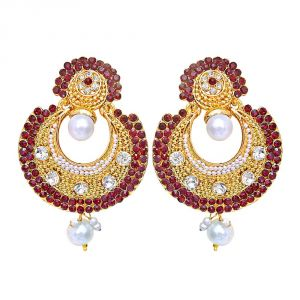 Surat Diamond Traditional Round Shaped Red & White Stones & Gold Plated Dangling Fashion Earrings For Women Pse6
