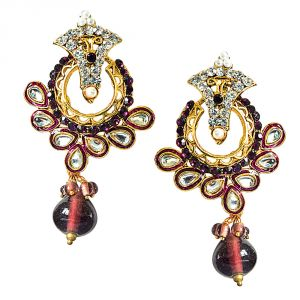 Surat Diamond Trendy Purple & White Stones & Gold Plated Chandbali Earrings Pse60