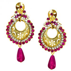 triveni,pick pocket,jpearls,surat diamonds,Jagdamba Women's Clothing - Surat Diamond Traditional Pink & White Stones & Gold Plated Chandbali Earrings PSE61