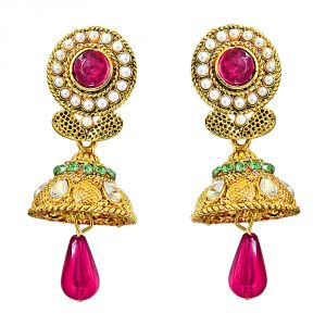 Surat Diamond Traditional Pink, Green & White Stone & Gold Plated Chandbali Earrings Pse62