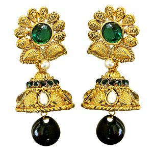 Surat Diamond Traditional Floral Shaped Green & White Stone & Gold Plated Chandbali Earrings Pse67