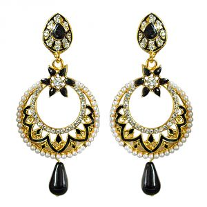 Surat Diamond Traditional Black & White Stone & Gold Plated Chandbali Enamelled Earrings Pse68