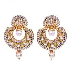Kiara,La Intimo,Shonaya,Lime,Flora,Surat Diamonds,Diya,Sangini,Parineeta Women's Clothing - Surat Diamond Traditional Round Shaped White Stone & Gold Plated Dangling Fashion Earrings for Women PSE7