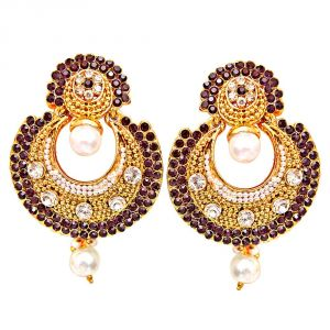 Rcpc,Jpearls,Surat Diamonds Women's Clothing - Surat Diamond Traditional Round Shaped Purple & White Stone & Gold Plated Dangling Fashion Earrings for Women PSE8