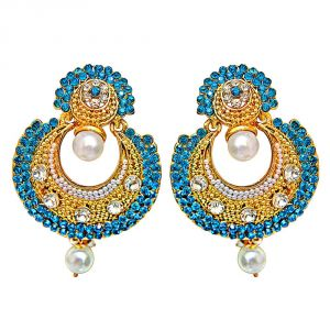Triveni,My Pac,Sangini,Kiara,Estoss,Cloe,Oviya,Surat Diamonds Women's Clothing - Surat Diamond Traditional Round Shaped Blue & White Stone & Gold Plated Dangling Fashion Earrings for Women PSE9