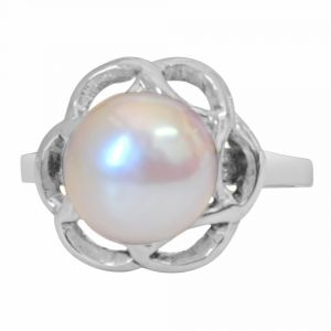 Surat Diamond Big Round 5.00 Cts Real Pearl & 925 Sterling Silver Ring For Astrological Power For All Psr5