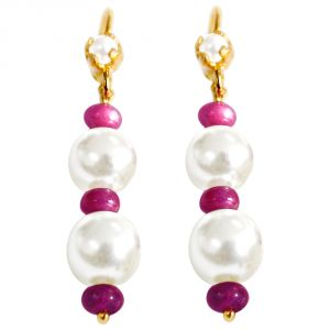 Triveni,Tng,Jharjhar,Surat Diamonds Pearl Earrings - Surat Diamond Ruby Beaded Beauty Earrings RBER4