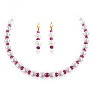 Surat Diamond Single Line Ruby And Freshwater Pearl Necklace With Matching Earring Rbn13+rber4