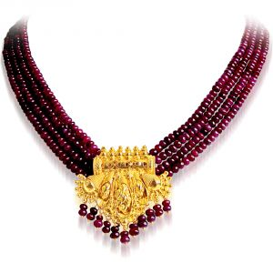 Rcpc,Ivy,Surat Diamonds,Port,Jharjhar,La Intimo Women's Clothing - Surat Diamond Red Ruby Necklace RBN4